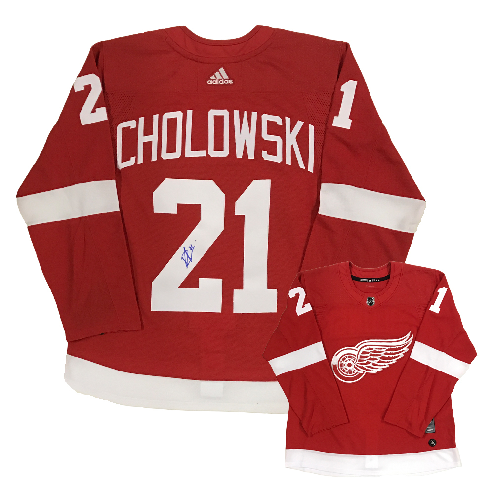 DENNIS CHOLOWSKI Signed Detroit Red Wings Red Adidas PRO Jersey