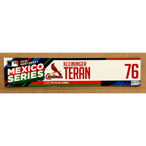 Photo of 2019 Mexico Series - Game Used Locker Tag -Kleininger Teran -  St. Louis Cardinals