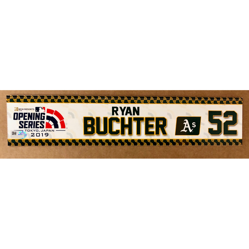 Photo of 2019 Japan Opening Day Series - Game Used Locker Tag - Ryan Buchter -  Oakland Athletics