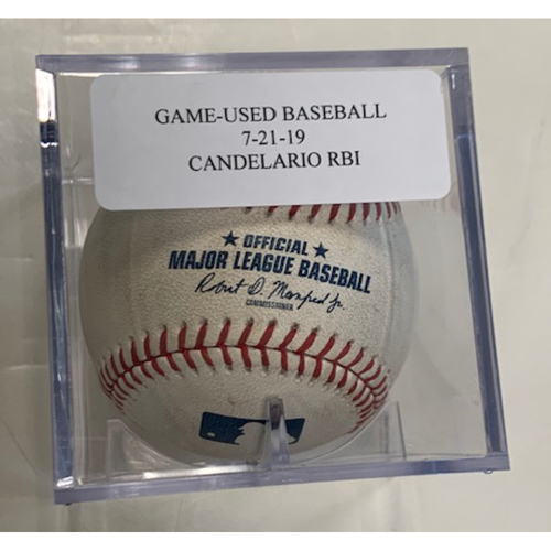 Photo of Game-Used Baseball: Jeimer Candelario Ground Out-JaCoby Jones Scores