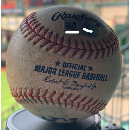 Photo of Game-Used Baseball Astros vs. Mariners 9-5-19: Jose Urquidy to Tom Murphy (Single)