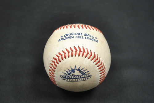 Photo of Game-Used Baseball: 2019 Arizona Fall League - Pitcher: Connor Johnstone (ATL), Batter: Jeren Kendall (LAD) - Single - 10/06/2019