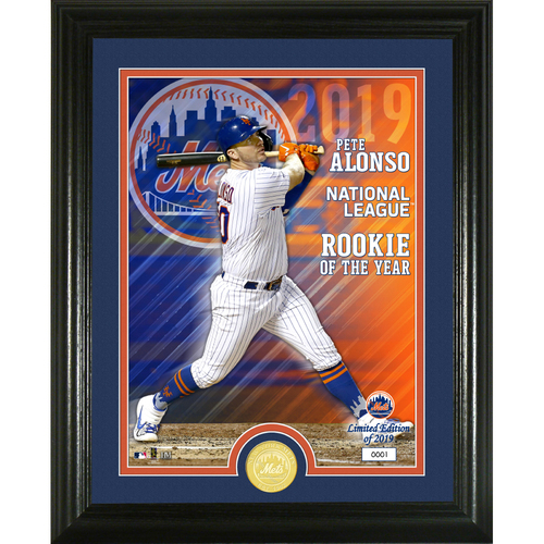 Photo of Pete Alonso 2019 NL Rookie of the Year Bronze Coin Photo Mint