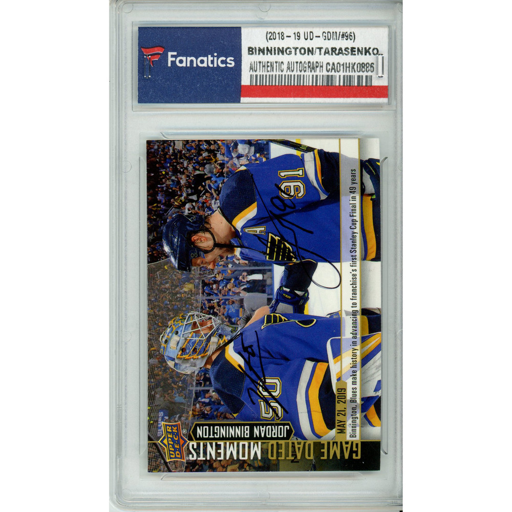 Jordan Binnington & Vladimir Tarasenko St. Louis Blues Autographed 2018-19 Upper Deck Game Dated Moments #96 Card