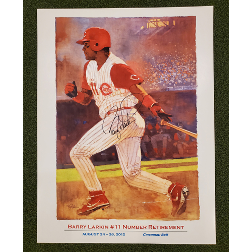 Photo of Autographed Barry Larkin Number Retirement Poster 2012