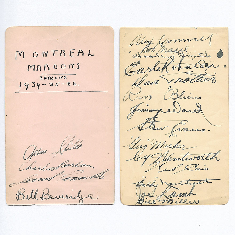 1934-36 Montreal Maroons Multi-Signed Pages - Lionel Conacher, Hooley Smith, Alec Connell, Herb Cain & More