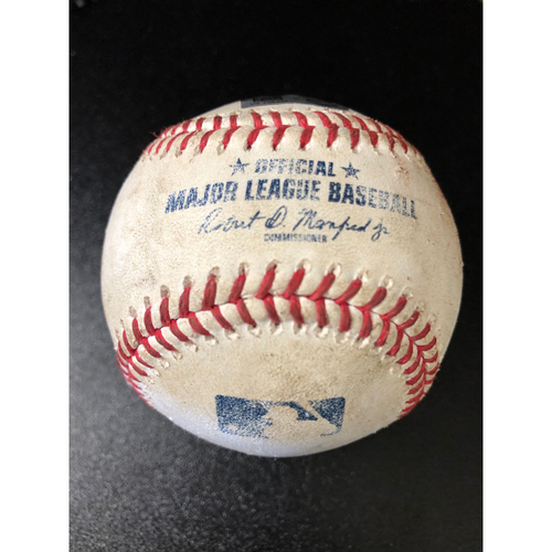Photo of Game-Used Baseball - 2020 NLCS - Los Angeles Dodgers vs. Atlanta Braves - Game 4 - Pitcher: Clayton Kershaw, Batters: Dansby Swanson (Strike Out), Austin Riley (Foul) - Bot 2