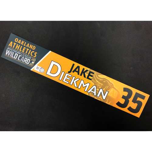 Photo of Game-Used 2020 A.L. Wild Card Locker Nameplate - Jake Diekman