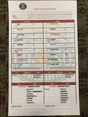 Salem Red Sox vs. Winston Salem Line Up Card