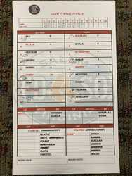 Photo of Salem Red Sox vs. Winston Salem Line Up Card