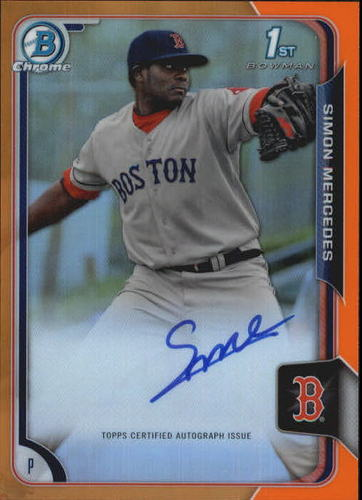 Photo of 2015 Bowman Chrome Prospect Autographs Orange Refractors #BCAPSM Simon Mercedes