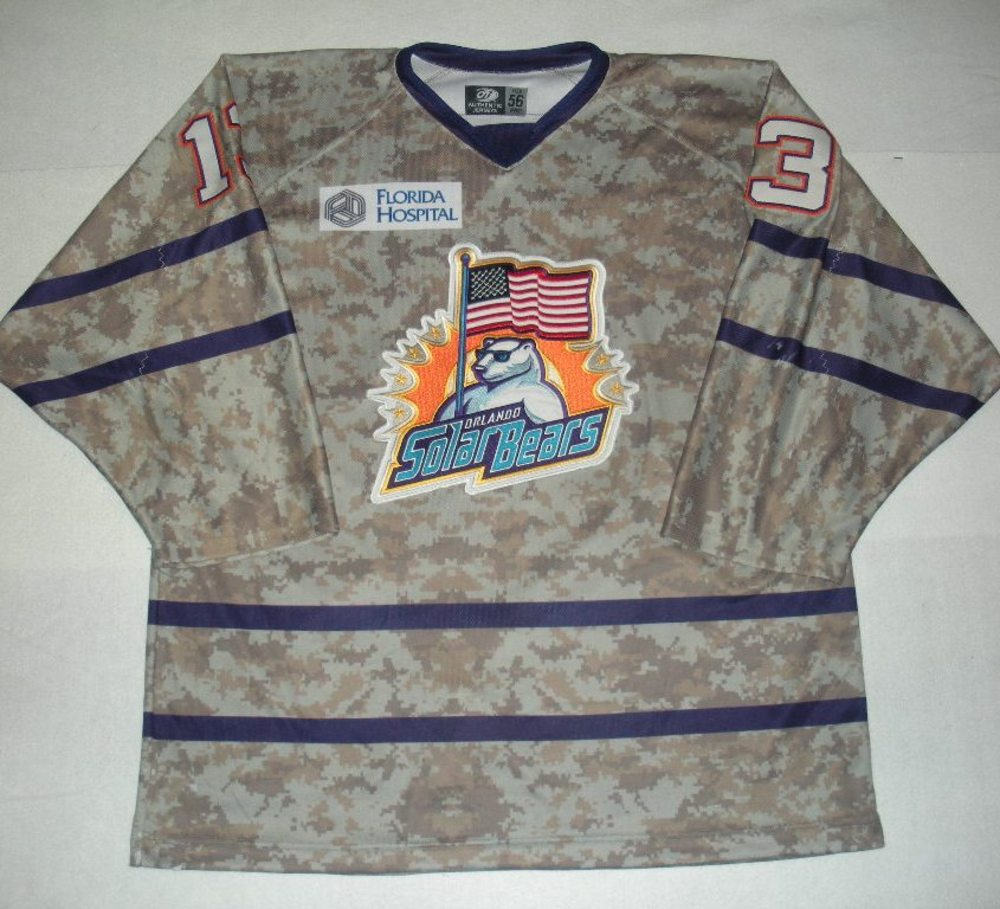 Orlando Solar Bears - Scott Tanski - Military Appreciation Night Camo Game-Worn Jersey