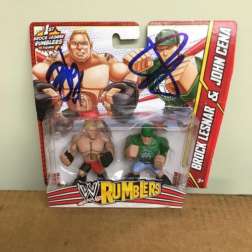 John Cena & Brock Lesnar SIGNED WWE Rumblers Figure 2-Pack