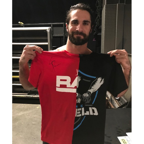Photo of Seth Rollins WORN & SIGNED T-Shirt (SmackDown - 11/14/17)