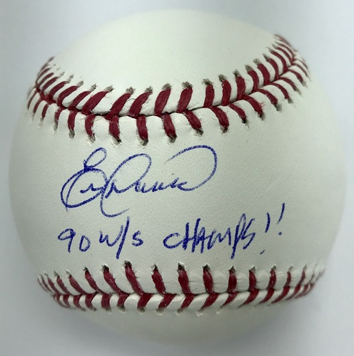 "Photo of Eric Davis ""90 WS Champs!"" Autographed Baseball"