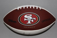 49ERS - NAVORRO BOWMAN LASER INSCRIBED PANEL BALL W/ SUPER BOWL LOGOS (LIMITED EDITION OF 500)