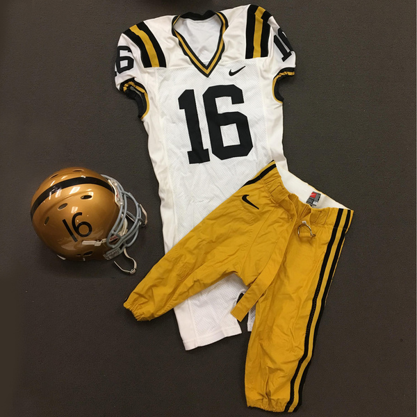 Photo of Throwback Purdue Football #16 Helmet, Jersey, and Pants