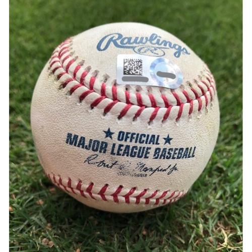 Photo of Game-Used Baseball - Nelson Cruz Double - 4/20/18