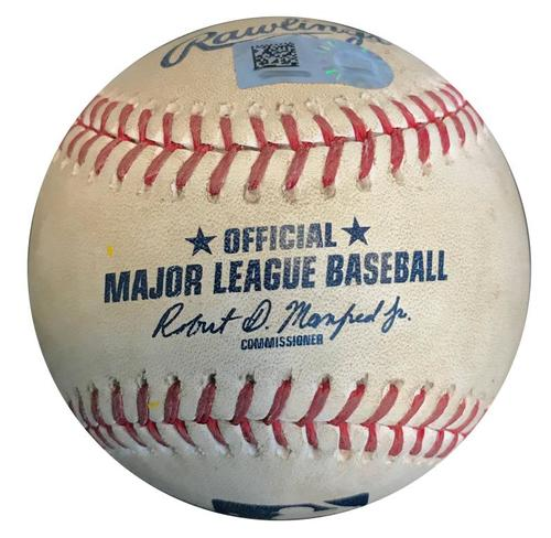 Photo of Game-Used Baseball from Pirates vs. Tigers on 4/25/18 (Game 2) - Kuhl to Martin, Foul