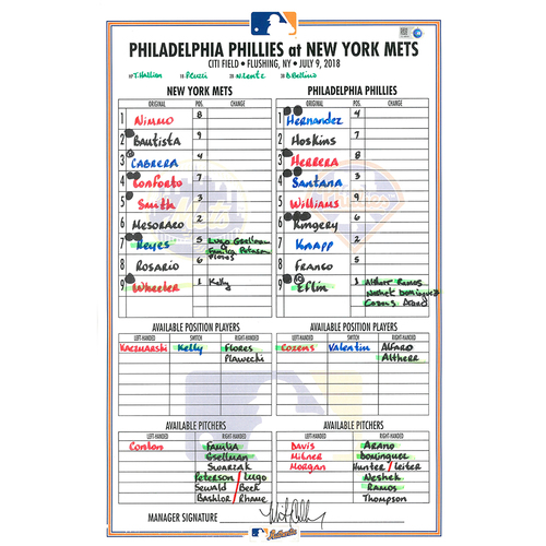 Photo of Game Used Lineup Card - Wilmer Flores Sets Franchise Record for Walk-Off RBI's; Wheeler Start; Mets Win 4-3 - Mets vs. Phillies - 7/9/18