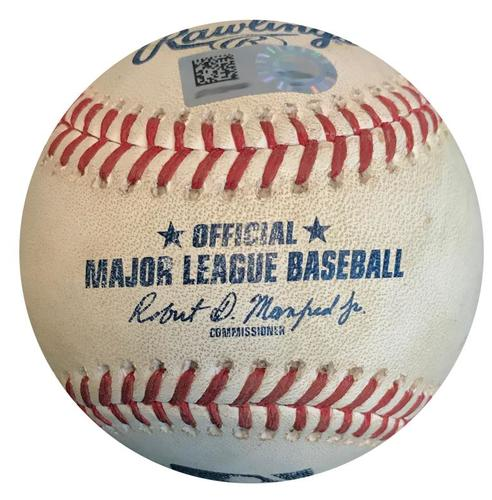 Photo of Game-Used Baseball from Pirates vs. Mets on 7/27/18 - Nimmo Walk, Flores Double