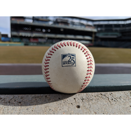 Photo of Colorado Rockies Game-Used Baseball - Taillon v. Dahl - Strike out swinging - August 7, 2018