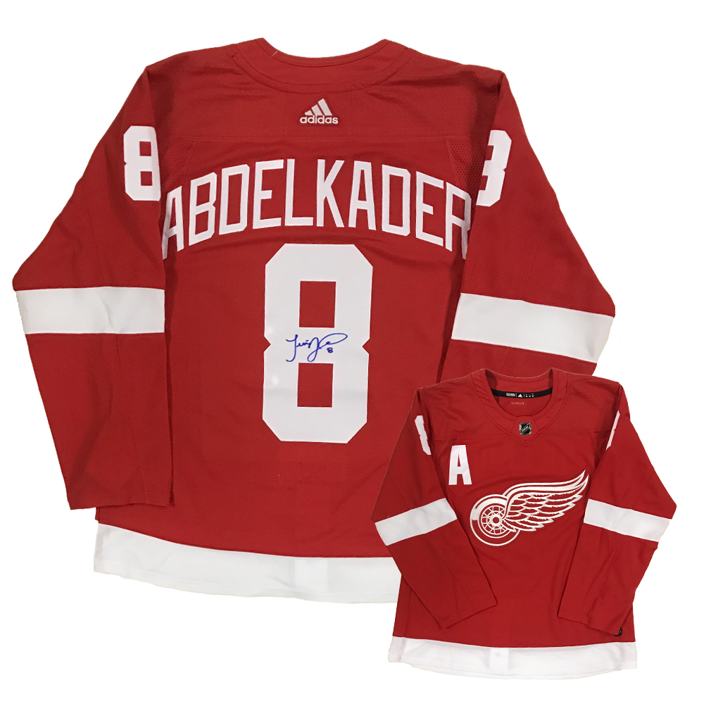 JUSTIN ABDELKADER Signed Detroit Red Wings Red Adidas PRO Jersey