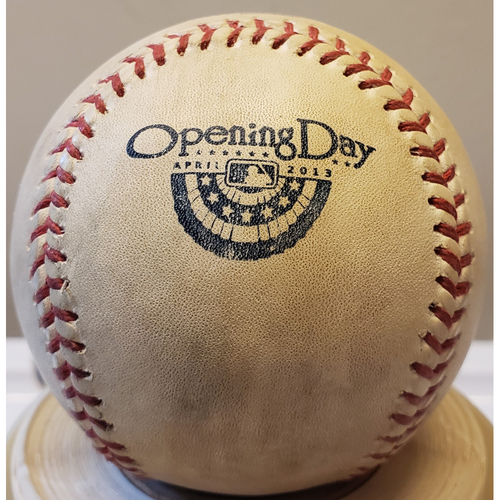 Photo of 2013 Opening Day - Baltimore Orioles at Tampa Bay Rays: Game-Used Baseball - Batter: Manny Machado, Pitcher: Jamey Wright - Top of 8, Skipped Ball off Dirt - 4/2/13