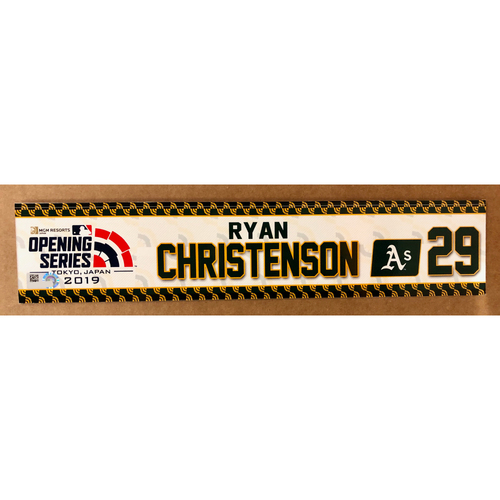 Photo of 2019 Japan Opening Day Series - Game Used Locker Tag - Ryan Christenson -  Oakland Athletics