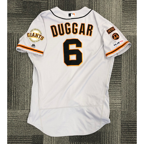Photo of 2019 Game Used Road Jersey used by #6 Steven Duggar on 4/17 @ WSH - 2-5, HR, 2 RBI, 2B, R & 8/2 @ COL - 2-4, 2B, R - Size 44