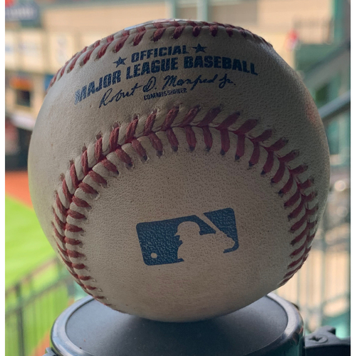 Photo of Game-Used Baseball Astros vs. A's 9-10-19: Chris Devenski to Robbie Grossman  (Single)