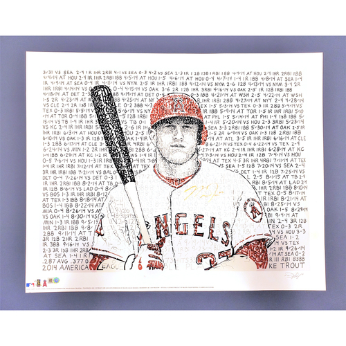 Photo of Autographed Mike Trout Art of Words Art Poster Print by Daniel Duffy