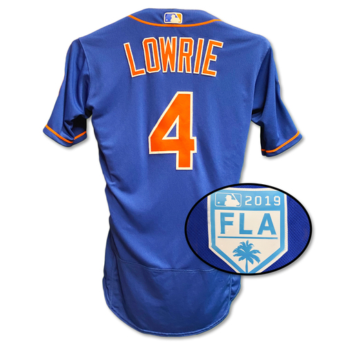 Photo of Jed Lowrie #4 - Team Issued Blue Alt. Home Jersey - 2019 Spring Training