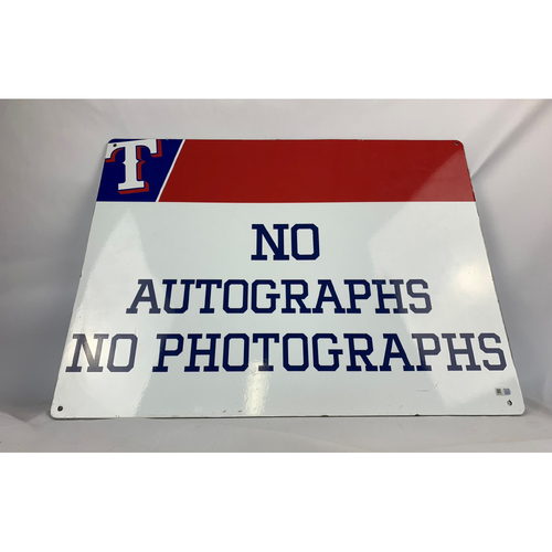 Photo of No Autographs/No Photographs Sign - Texas Rangers Players Parking Garage - Globe Life Park