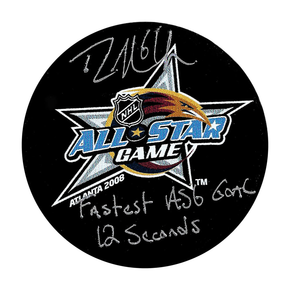 Rick Nash Autographed 2008 NHL All-Star Game Puck w/FASTEST ASG GOAL 12 SECONDS Inscription