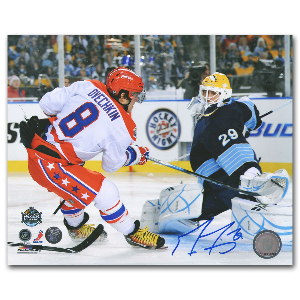 Marc-Andre Fleury Autographed 2011 NHL Winter Classic 8X10 Photo (Pittsburgh Penguins)