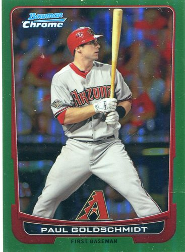 Photo of 2012 Bowman Chrome Green Refractors #131 Paul Goldschmidt