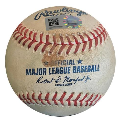 Photo of Game-Used Baseball from Pirates vs. Mets on 7/27/18 - Brandon Nimmo Double