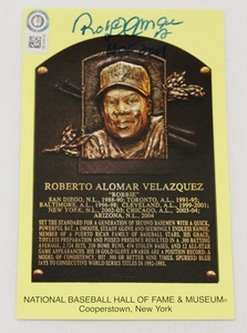 Autographed Roberto Alomar Hall of Fame Postcard with HOF 2011 Inscription (3.5