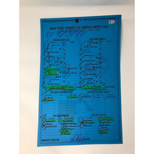Photo of Game-Used Blue Lineup Card from June 16, 2019: White Sox vs. New York Yankees