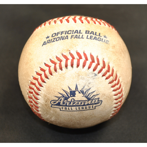 Photo of Game-Used Baseball: 2019 Arizona Fall League - Pitcher: Vince Arobio (CWS), Batter: Andres Gimenez (NYM) - Double - Top 5 - 10/6/2019