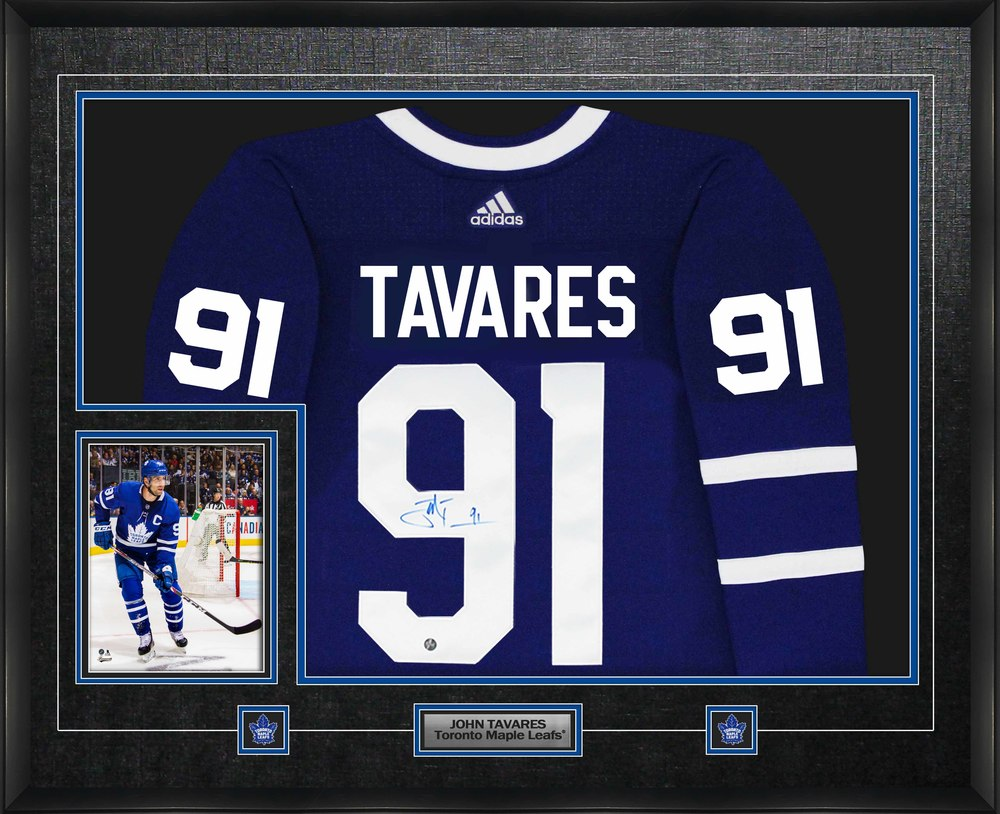 John Tavares Signed Jersey Framed Pro Adidas Toronto Maple Leafs Blue with 8x10
