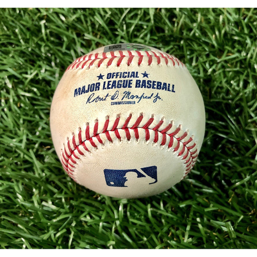 Photo of Game Used Baseball: Aaron Judge single off Sean Gilmartin - First Seven Inning DH at Tropicana Field - Game 1 - August 8, 2020 v NYY