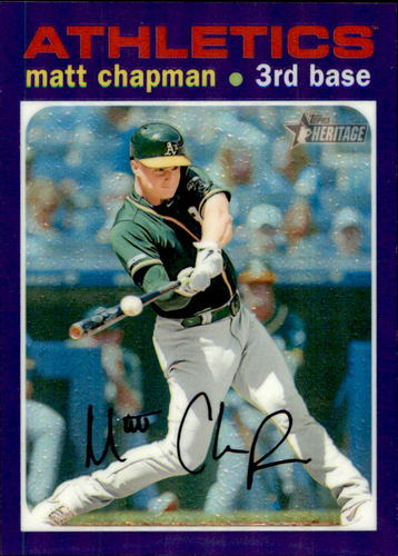 Photo of 2020 Topps Heritage Chrome Purple Refractors #THC468 Matt Chapman