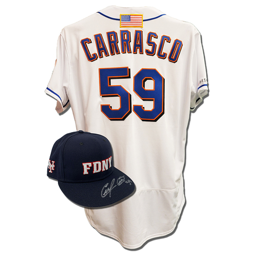 Photo of Carlos Carrasco #59 - Autographed Game Used First Responder Hat and Game Used White Commemorative Jersey with American Flag Patch - Mets vs. Yankees - 9/11/2021