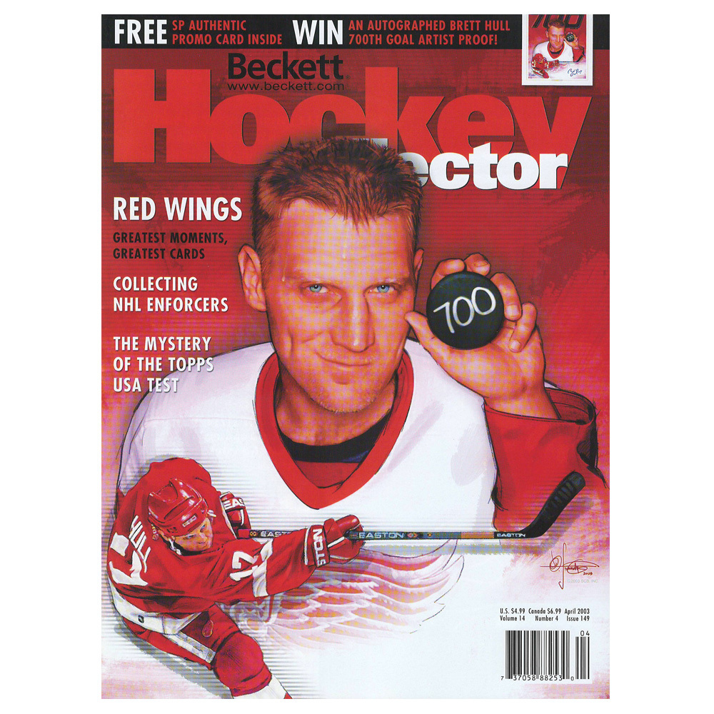 BRETT HULL 700 Goals Beckett Hockey Magazine April 2003 - Detroit Red Wings