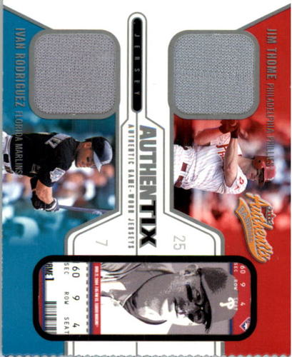 Photo of 2004 Fleer Authentix Game Jersey Dual #JTIR Jim Thome/Ivan Rodriguez