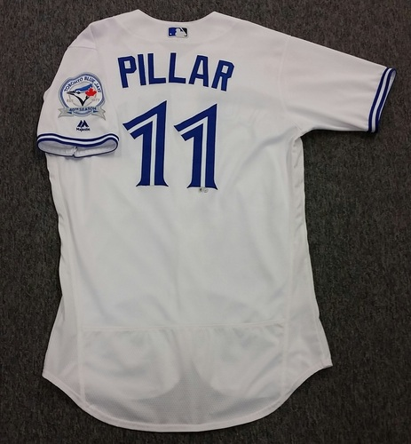 Authenticated Game-Used #11 Kevin Pillar Home Jersey - worn Sept 9, 2016 vs Boston Red Sox. Pillar went 1-for3.