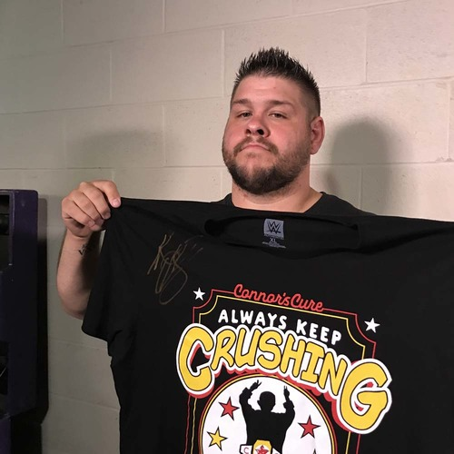 "Photo of Kevin Owens WORN & SIGNED Connor's Cure ""Crush"" T-Shirt (Connors Cure - 09/05/17)"