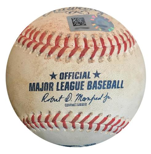 Photo of Game-Used Baseball from Pirates vs. Mets on 7/27/18 - Conforto Single, Bautista Fly Out